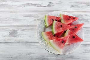 Slices watermelon on plate