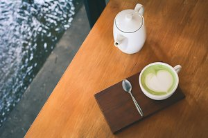 Green tea cup in cafe shop