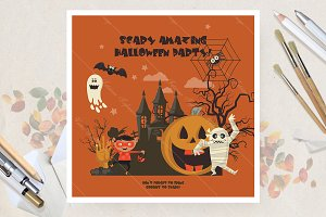 Happy Halloween vector card