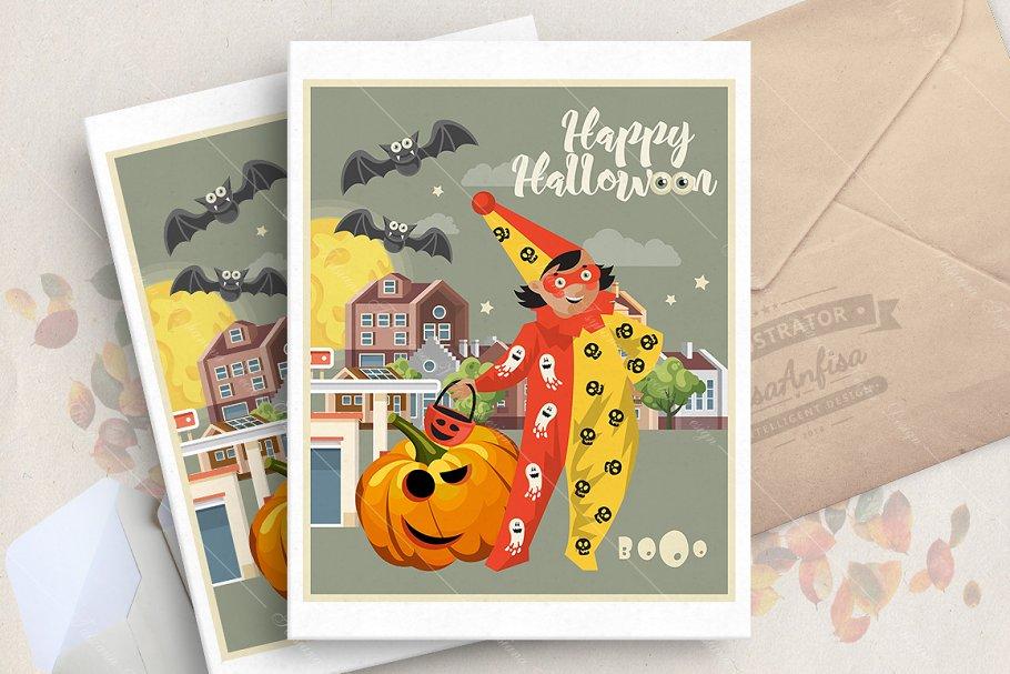Happy Halloween vector card