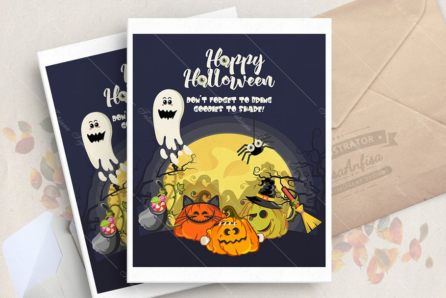 Happy Halloween vector card in Illustrations