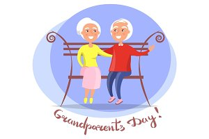 Grandparents Day Senior Couple on Bench Vector