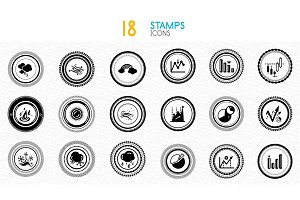 Collection of black and white stamps - quality and concept icons