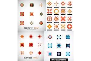Set of colorful abstract symmetric geometric icons