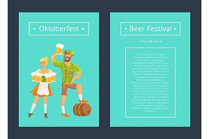 Oktoberfest Set of Posters with Man and Woman