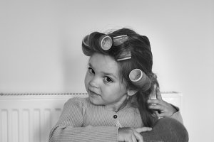 Girl doing her hair