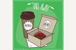 Berry pie in carton box and coffee in paper cup