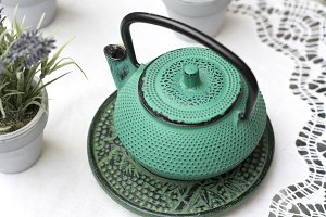 Chinese teapot in bright blue, Outdo
