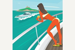 Girl in a swimsuit sunbathes standing on yacht deck