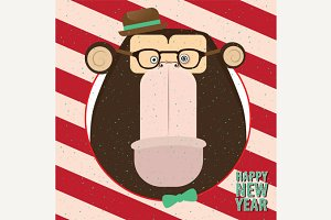 Happy New Year with monkey in candy retro frame