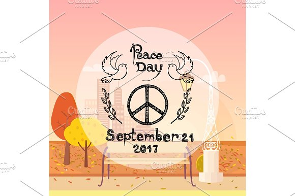 International Peace Day Poster Hippie Sign Autumn
