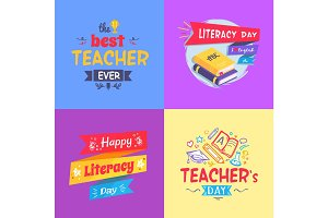 Best Teacher Ever Poster Set Vector Illustration