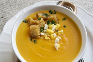 Creamy Pumpkin soup with crouton and