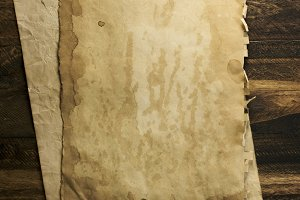 old paper on brown wood texture with