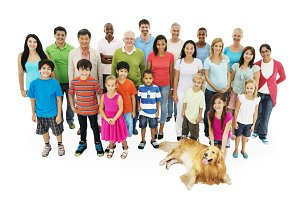 Group of diverse people with dog