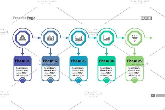 Five Options Process Chart Slide Template