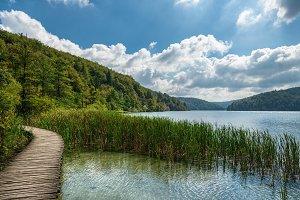 Wooden path around Plitvice lakes