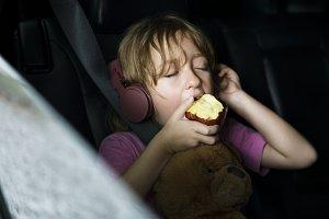 Girl sitting inside the car