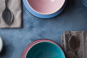 Tableware for breakfast or lunch on blue
