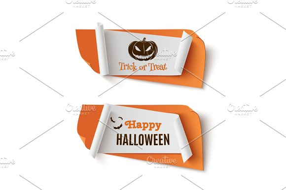 Two orange, Halloween, treat or trick abstract banners.