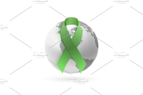 Green ribbon with monochrome earth icon on white.