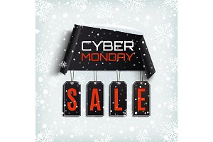 Cyber monday sale. Winter design.