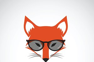 Vector of fox wearing glasses.