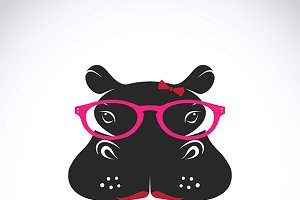 Vector of hippo wearing glasses.