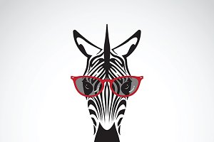 Vector of zebra wearing sunglasses.