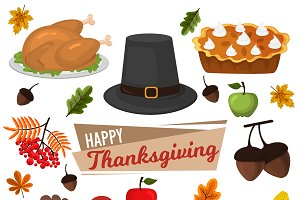 Thanksgiving Day party vector set