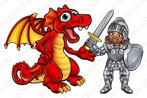 Dragon and Knight Cartoon Characters