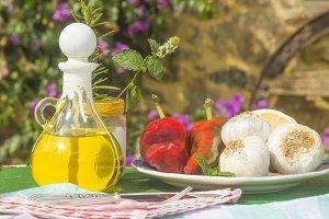 Extra virgin olive oil vintage cruet