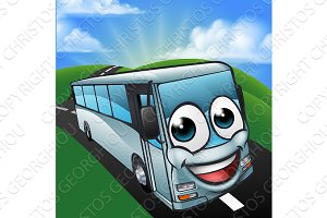 Coach Bus Cartoon Character Mascot Scene