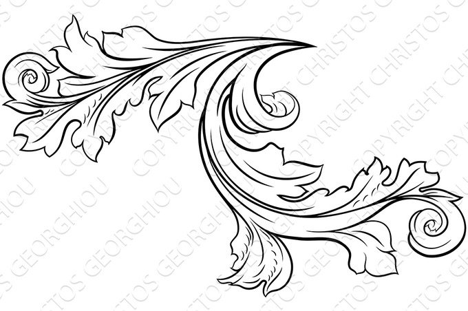 Floral Filigree Pattern Scroll Design ~ Illustrations