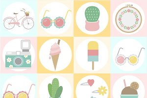 Illustration set of pastel style