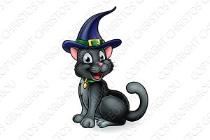 Witches Hat Black Cat Cartoon Character