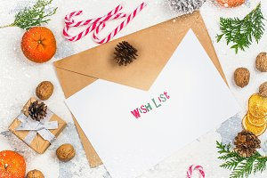 Envelope with paper ready for writting a letter to Santa Claus