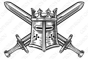 Knight Helmet and Crossed Swords Illustration