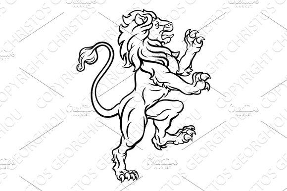 Lion Standing Rampant Heraldic Crest