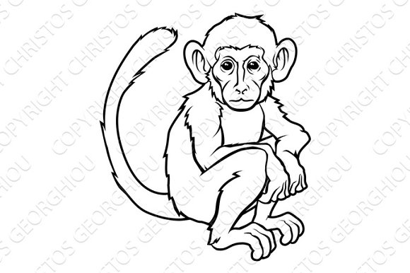 e7197fef1 Stylised monkey illustration ~ Graphic Objects ~ Creative Market