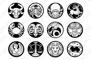 Horoscope zodiac astrology star signs symbols set
