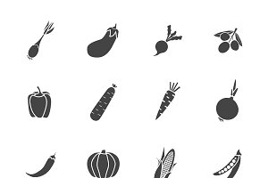 Vegetables Sillhouette Icon Flat Set