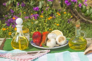 Extra virgin olive oil, outdoors.