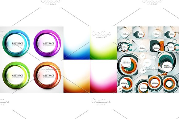 Swirl And Wave Background Set