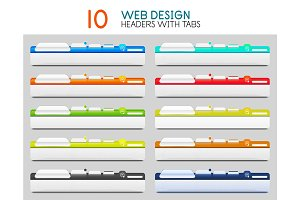 Set of vector web site headers with tabs