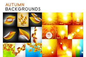 Autumn orange and yellow shiny backgrounds set and fall nature brown leaves concepts