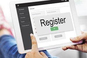 Register online digital tablet