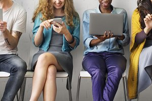 Diverse People Electronic Devices