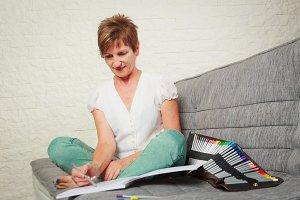 Senior WomanDrawing In Coloring Book