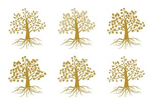 Golden decorative trees